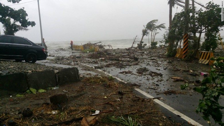 Storm damage is seen near Fugang fishing port in Southern Taiwan. *photo courtesy of cnn.com*