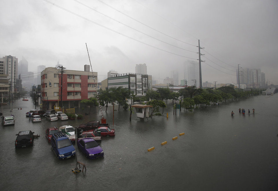 Officials are reporting that more than 60% of the capital, Manila, is submerged.