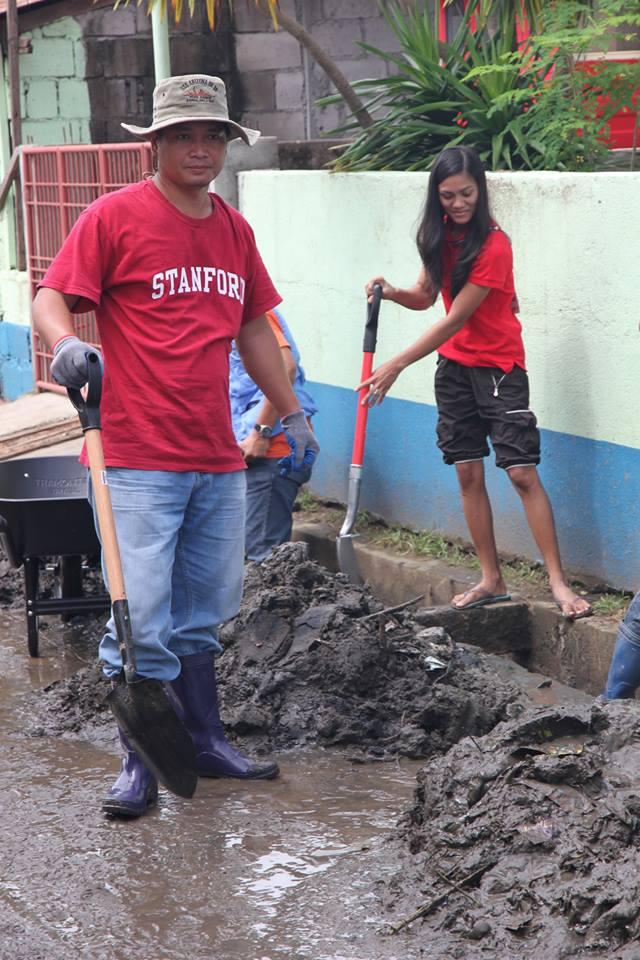 Mud shoveled