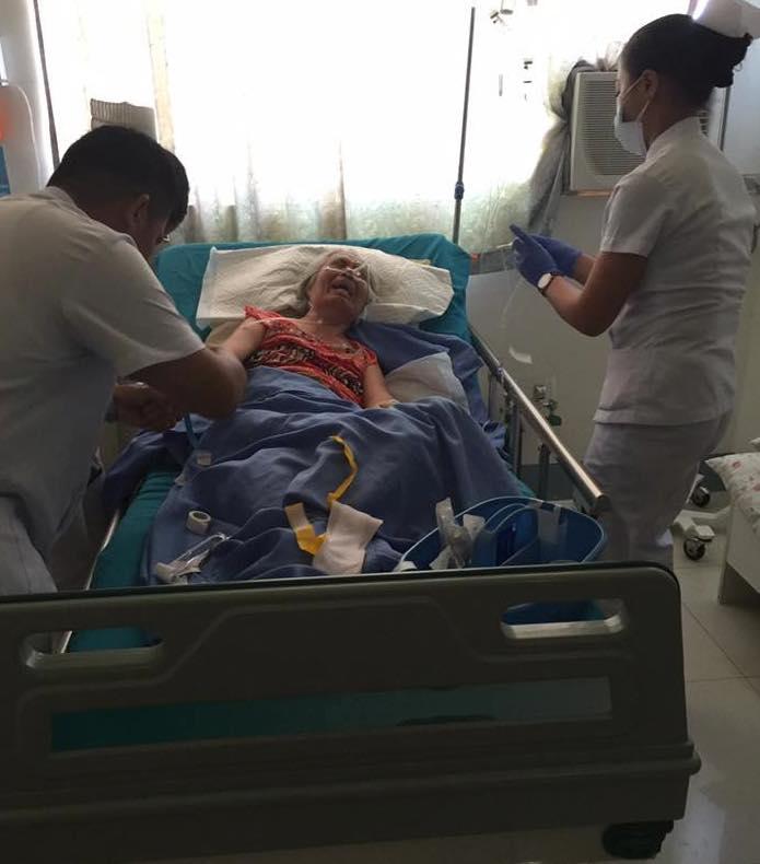Mrs. Tingson, battling brain cancer at hospital in Cebu City.