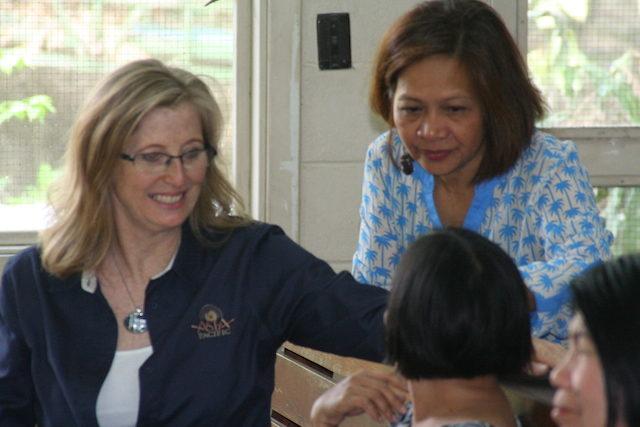 Connie Lou Aebischer and Metro Manila District NMI President, Mila Hallig