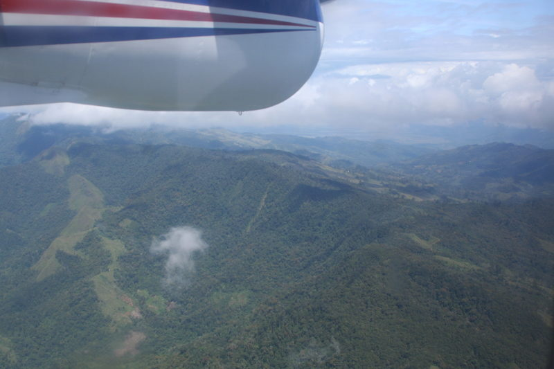 Flying over the highlands of Papua New Guinea from Mount Hagen to Dusin airstrip.
