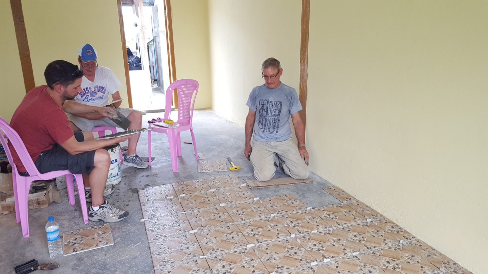Tiling the platform of the church